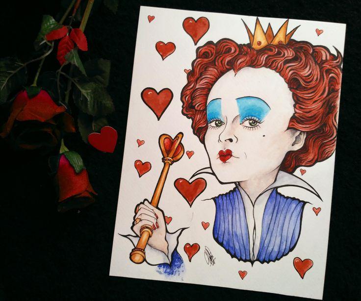 Ilustración de la Reina Roja de Alicia en el País de las Maravillas de Tim Burton a tinta y acuarela. de DrawingsByPatricia en Etsy