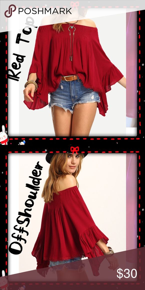 Off Shoulder RED Top Beautiful Off Shoulder Red Tops. Please review dimensions to determine correct sizing.  Available is SM, Med. or Lg. Pattern Type	Solid Sleeve Length(cm)	Three Quarter Material	Acrylic,Cotton,Polyester Decoration	Lace Sleeve Style	Batwing Sleeve.      S    bust 96cm    length 46cm    sleeve 39cm M    bust 100cm    length 47cm    sleeve 40cm L    bust 104cm    length 48cm    sleeve 41cm Tops Blouses
