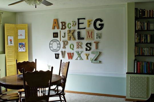 Writing on the WallBasements Playrooms, Wall Art, Wall Decor, Alphabet Wall, Kids Room, Cool Ideas, Baby Room, Wall Display, Letters Wall