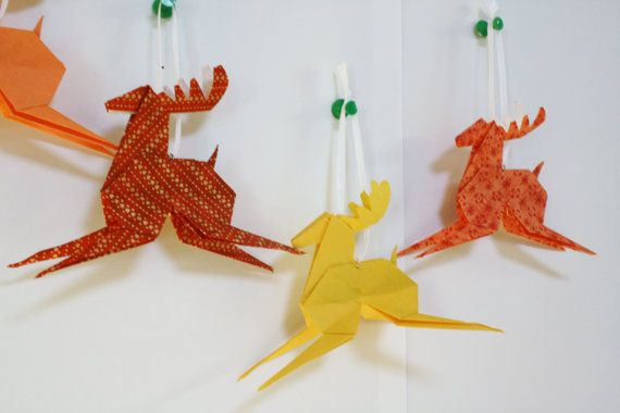 Christmas Origami Reindeer - Tree decoration or Gift Tag