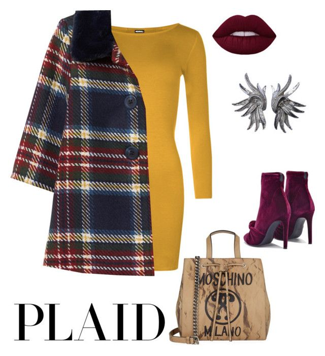 """""""Mad about PLAID"""" by margaret-nunez ❤ liked on Polyvore featuring WearAll, Moschino, Giuseppe Zanotti and Oscar de la Renta"""