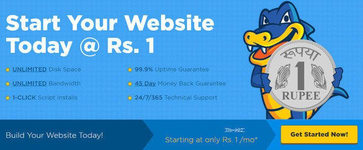 Get 1 Rupee Web Hosting At Hostgator India http://www.updatedreviews.in/hosting-coupon/hostgator-india Limited time offer. Rush today.