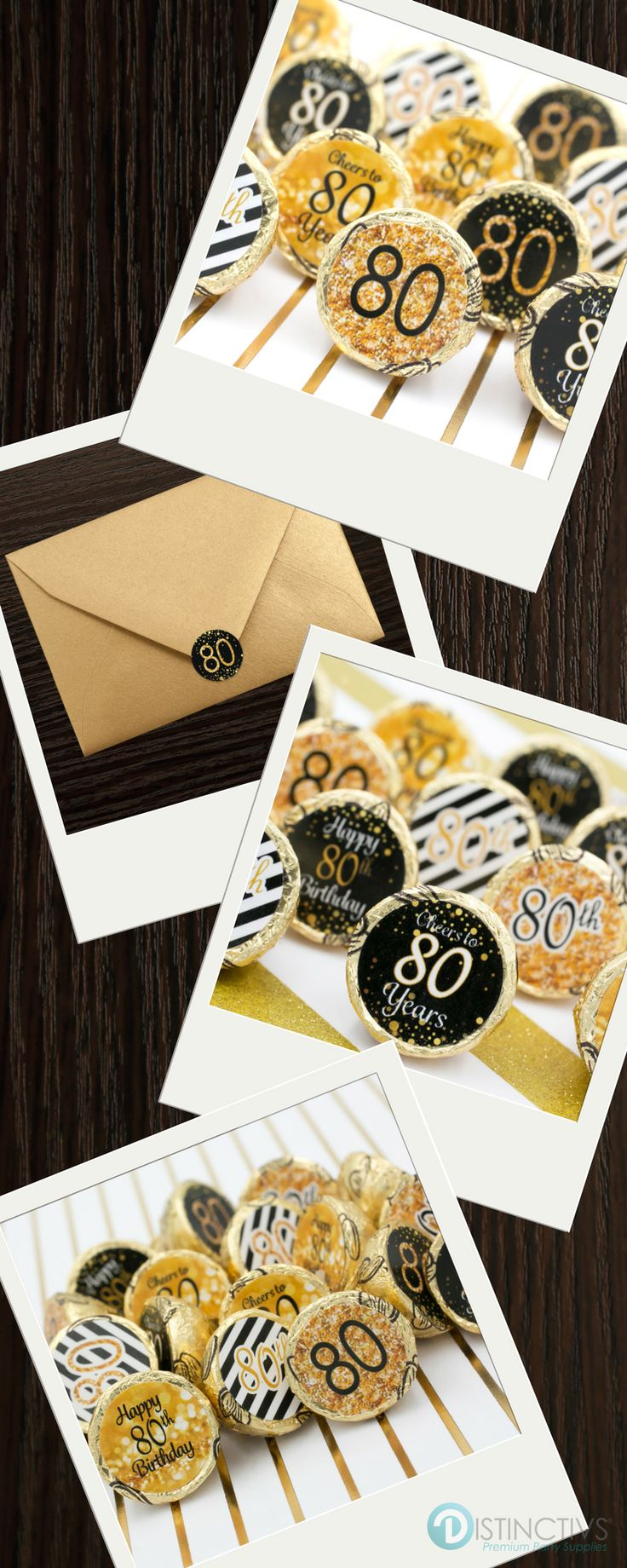 Celebrate this special birthday milestone with these gold and black 80th birthday party favor stickers that will be a sure hit at your party. Designed to fit perfectly on the bottom of Hershey kisses
