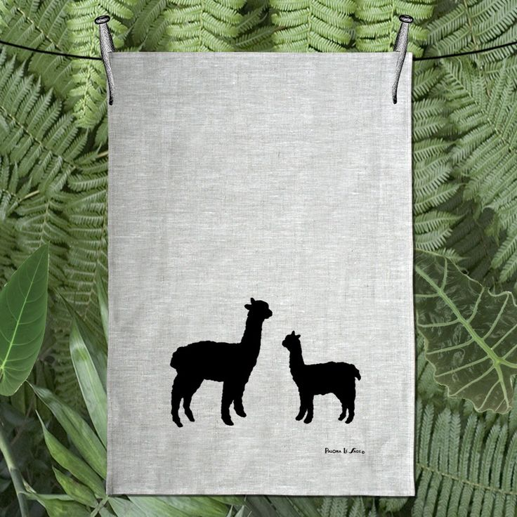 Alpaca & Baby Silhouette Hand Screen Printed Pure Linen Tea Towel Free Shipping Australia Wide by animalsandbirds on Etsy