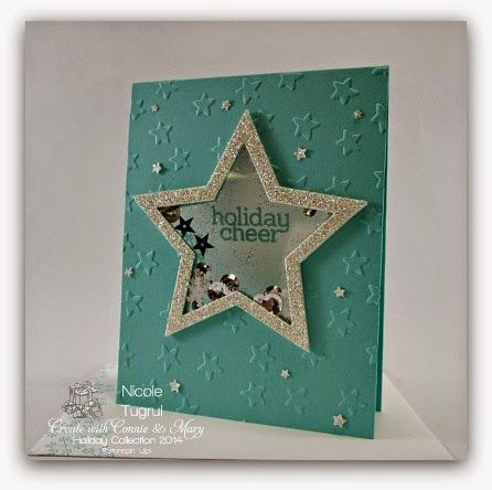Be Creative with Nicole: A Shaker Holiday card featuring lots of STARS!