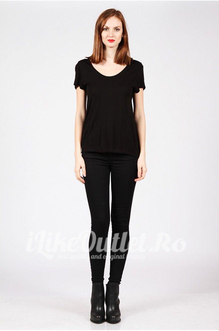 Tricou negru cu decolteu rotund COS