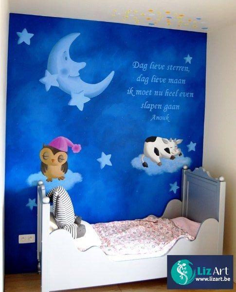 Muurschildering nacht, mijn maan, sterren, gedichtje en diertjes