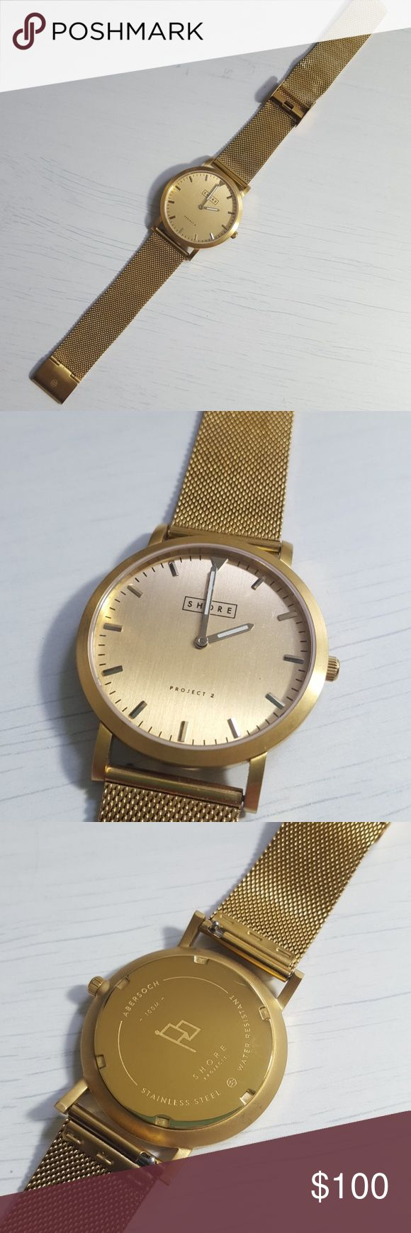 Gold Shore Watch Project 2 Brand new never worn  Does not come with box 100m water resistant and stainless steel  Open to offers shore Accessories Watches