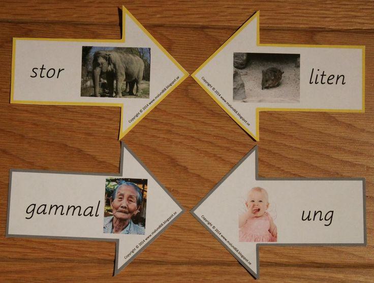Min blogg om allt mellan himmel och jord: Montessorimaterial: motsatsords pilar