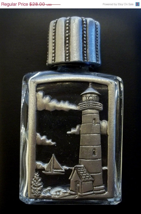 vintage Perfume Bottle JJ Jonette Lighthouse pewter @dollherupshop, $21.00