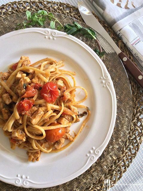 Briciole di Sapori: Linguine con pesce spada, melanzane, pomodorini e ...