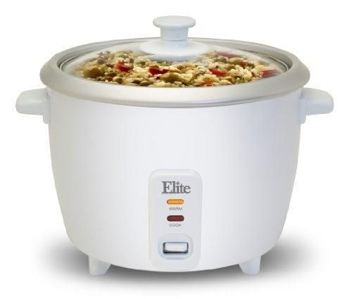 Elite Cuisine ERC-003 Maxi-Matic 6 Cup Rice Cooker with Glass Lid White