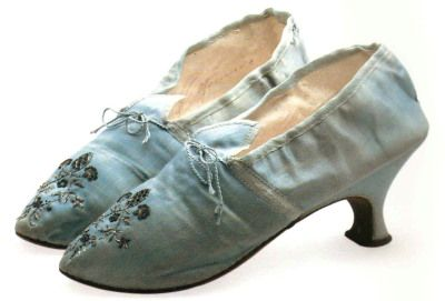 Embroidered blue silk shoes, English, c. 1785-89, from the book The Seductive Shoe, Four Centuries of Fashion Footwear by Jonathan Walford, published by Thames & Hudson in 2007.