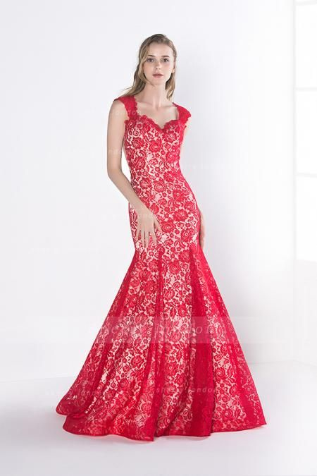 RED TRUMPET/MERMAID SHOULDER STRAPS SWEEP/BRUSH TRAIN PROM DRESS