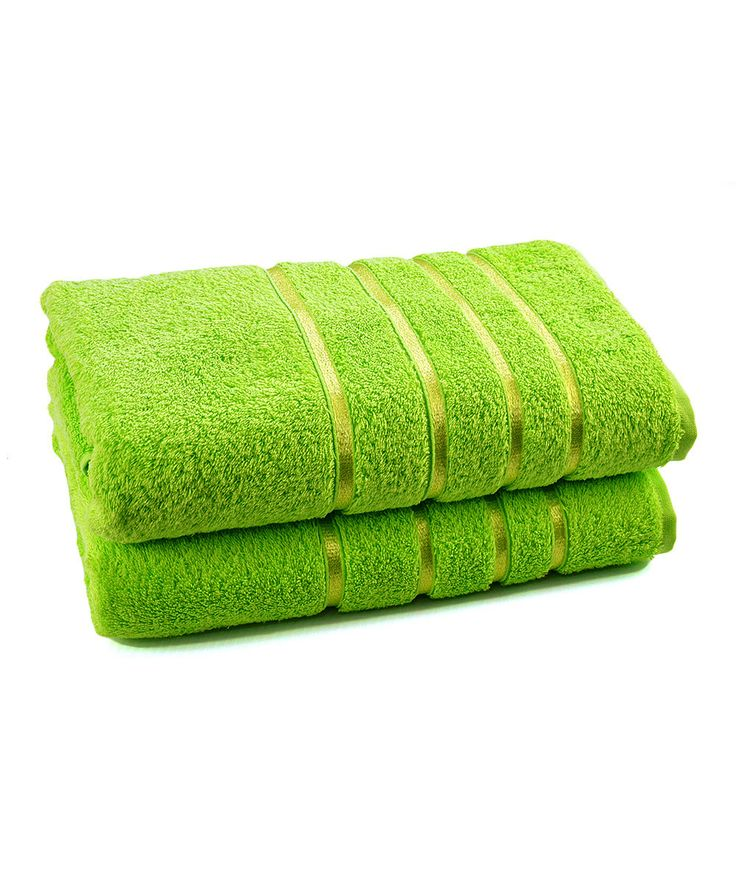 Bright green luxury bath towel set of two for Bright bathroom sets