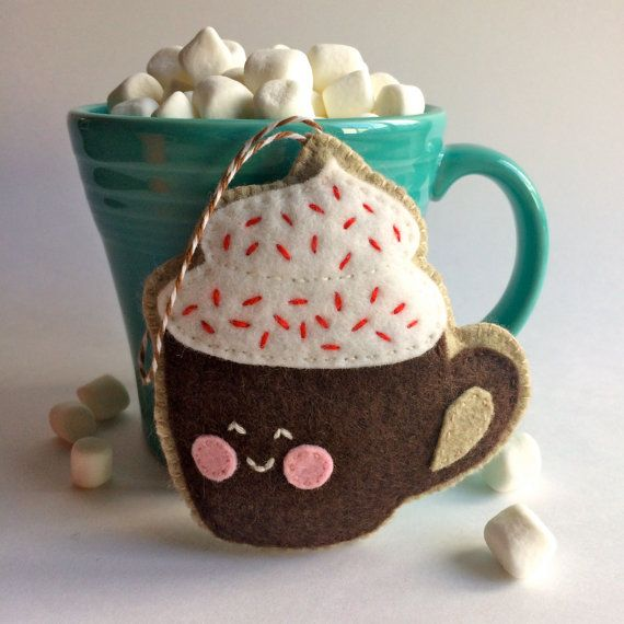 Mocha Hot Chocolate Wool Felt Ornament by MidnightMouseDesigns