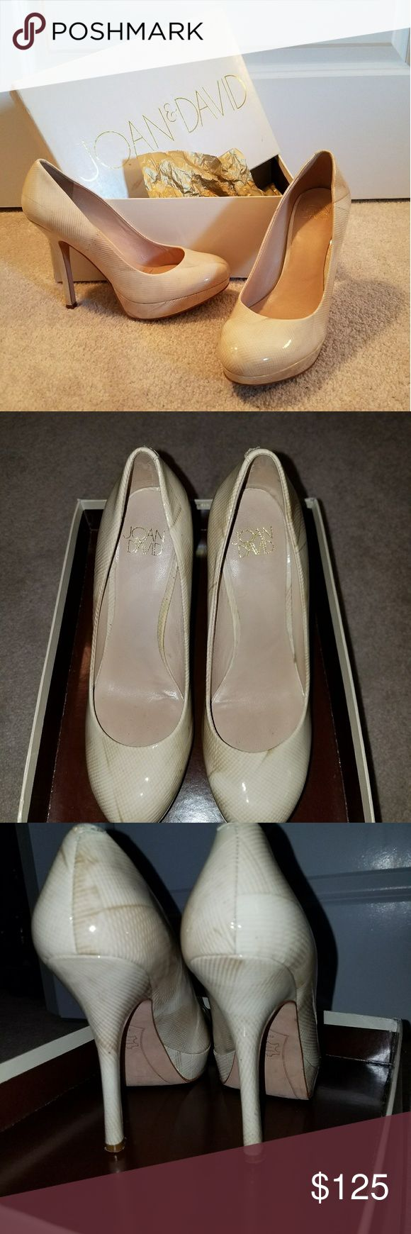 "Joan & David ""Flipp"" Ivory Mult. Heels Ivory patent leather heel with a light pattern, platform toe, with genuine leather sole. Left shoe has 2 pin sized holes on the platform. Only worn a few times. Joan & David Shoes Heels"