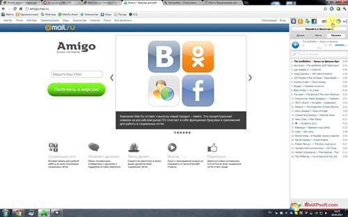 Скриншот программы Амиго для Windows XP