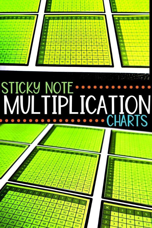 Multiplication Chart Sticky Notes Fourth Grade Math Pinterest