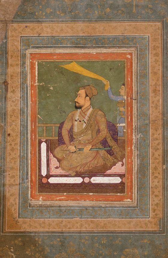 Muhammad Adil Shah (verso), Calligraphy (recto), Folio from an album Attributed to Muhammad Khan Possibly Nadir al-Zaman Mahdi (India, flourished 1600-1630, born 1588) India, Karnataka, Bijapur (verso); India, Deccan (recto), 1650 or later (verso), 1717-1718 (recto) Drawings; watercolors Opaque watercolor, gold, and ink on paper Image (recto): 5 3/8 x 2 7/8 in. (13.65 x 7.3 cm); Image (verso): 5 7/8 x 3 13/16 in. (14.92 x 9.68 cm); Sheet: 16 3/16 x 10 5/8 in. (41.12 x 26.99 cm)