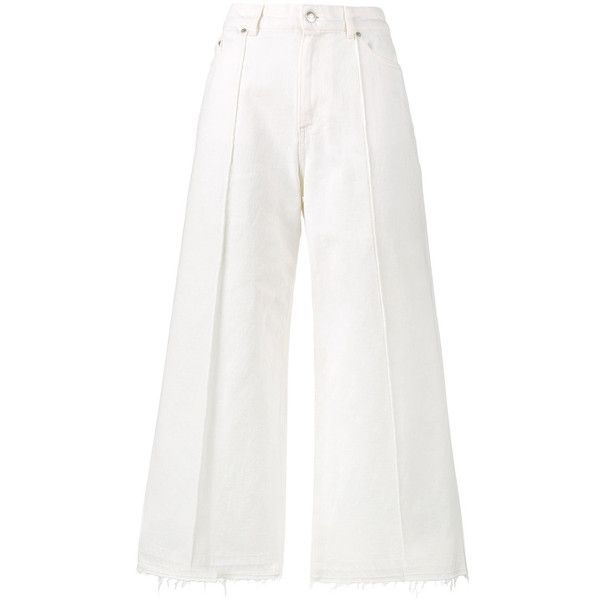 Alexander McQueen denim high waisted culottes ($795) ❤ liked on Polyvore featuring pants, capris, white, high-waisted pants, high-waist trousers, white pants, denim trousers and white trousers