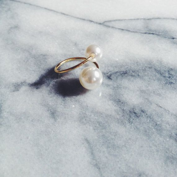 Double Pearl Adjustable Ring @JewelleryClub