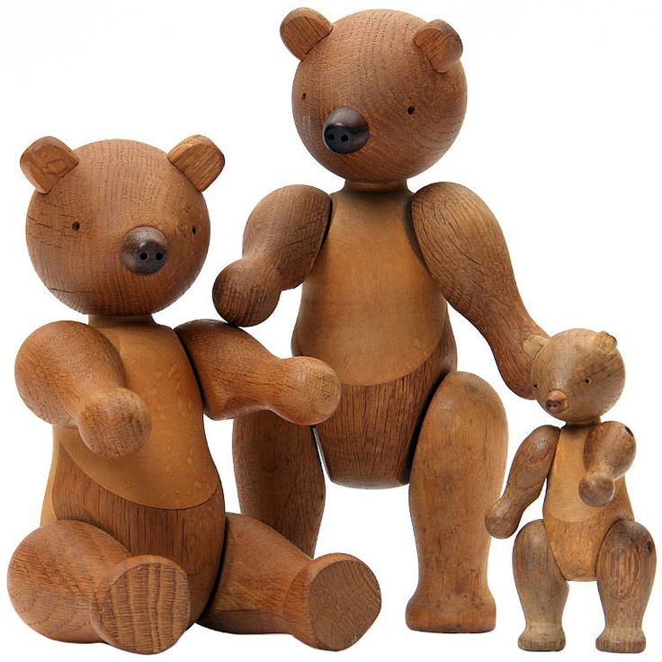 the Bear Family by Kay Bojesen  Denmark  1960's  Two large fumed oak bears and one small.