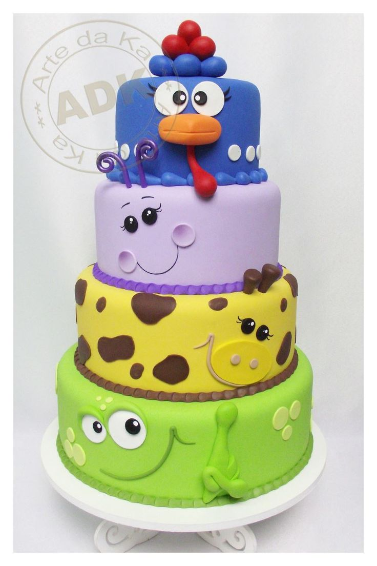 Arte da Ka - Layered cake with animals..... so cute!