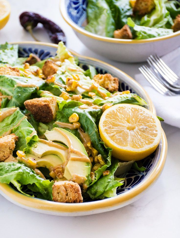 Chipotle Caesar Salad (vegan!) with Cornbread Croutons