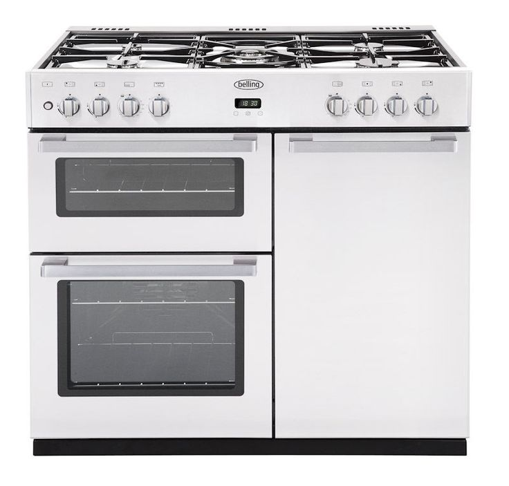 Belling Dual Fuel Range Cooker 90cm Brand New DB4 90DFT Black/ Stainless Steel Gas hob with 5 burners Main fanned electric over with light Tall fanned 76 litre electric oven Seperate variable electric grill Programme main oven Cast iron pan supports Energy Rating A, A