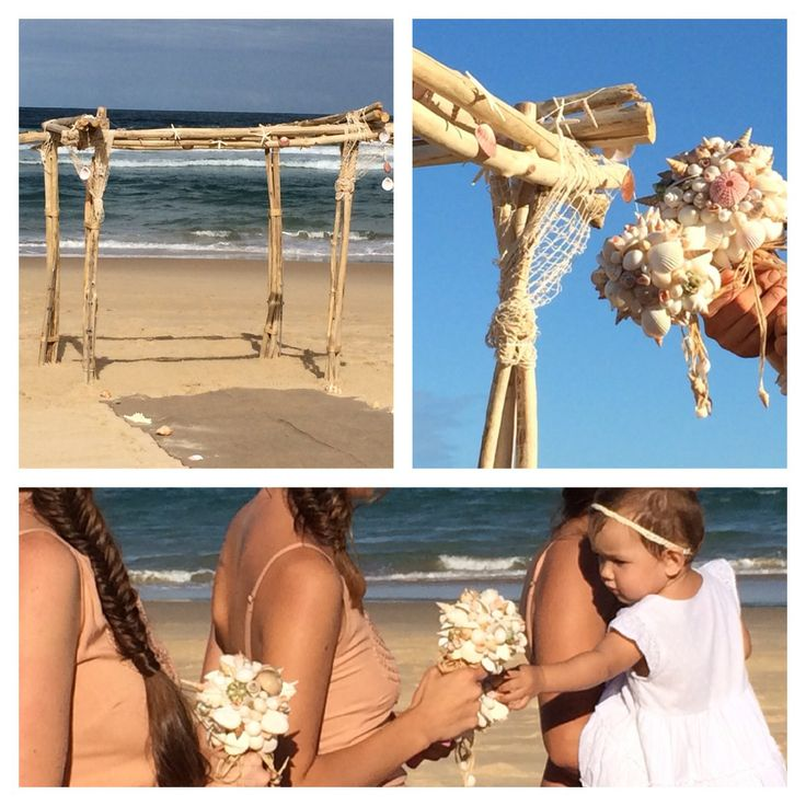Tres Noosa has an unique beach wedding hire service. Come to our shop in Noosa (shop 7, Arcadia Street, Noosa Junction) or we would love to send you our catalogue. We also customise beautiful unique shell bouquets. www.shellsbypauline.com