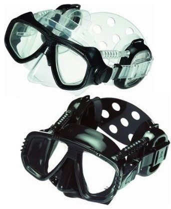 Ear equalizing scuba dive mask keeps your ears clear of pressure as you descend.