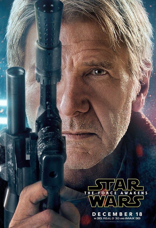 Nothing beats a good blaster at your side: Brand new character posters for Star Wars The Force Awakens have been unveiled, featuring five of the main characters, including Harrison Ford as Solo