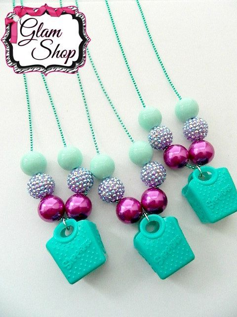 Shopkins Tote Bubblegum Chain Necklace Party by GlamShopBeads