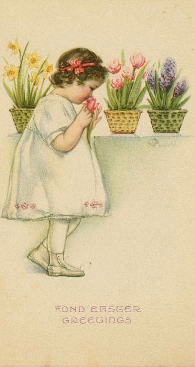 ⊰ Posing with Posies ⊱ paintings & illustrations of women & children with flowers - Vintage Easter girl