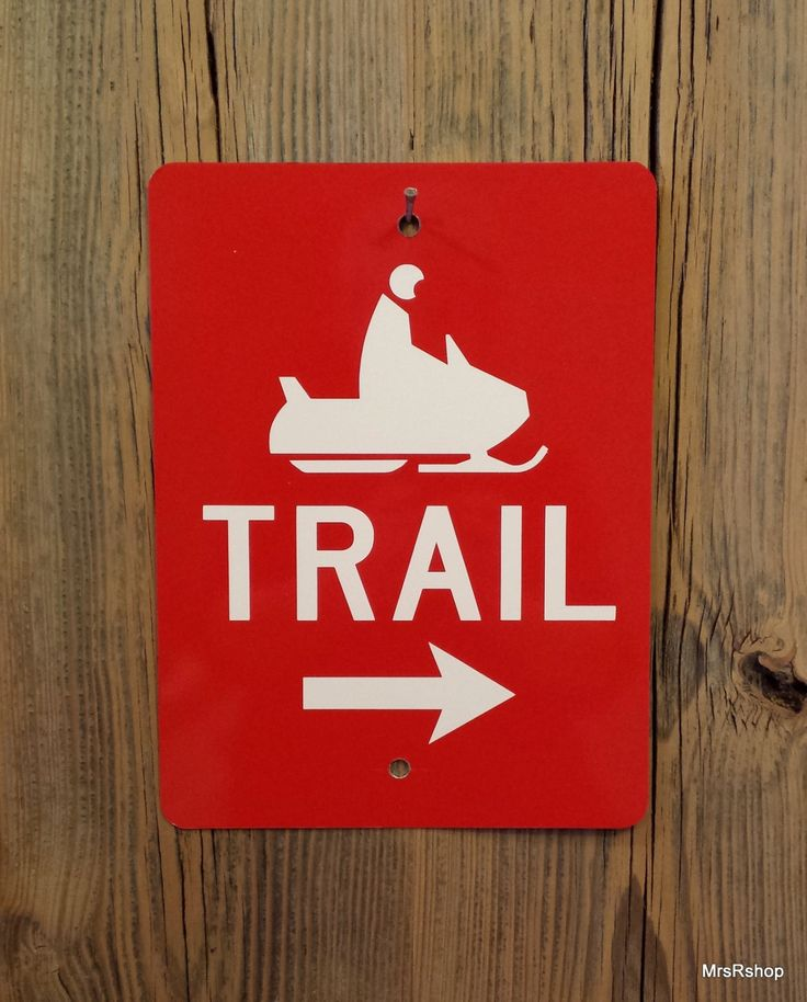 Snowmobile trail marker sign metal directional sign ski doo winter lodge red aluminum reflective trail sign arrow points right by SignandLetterShop on Etsy https://www.etsy.com/listing/257315204/snowmobile-trail-marker-sign-metal