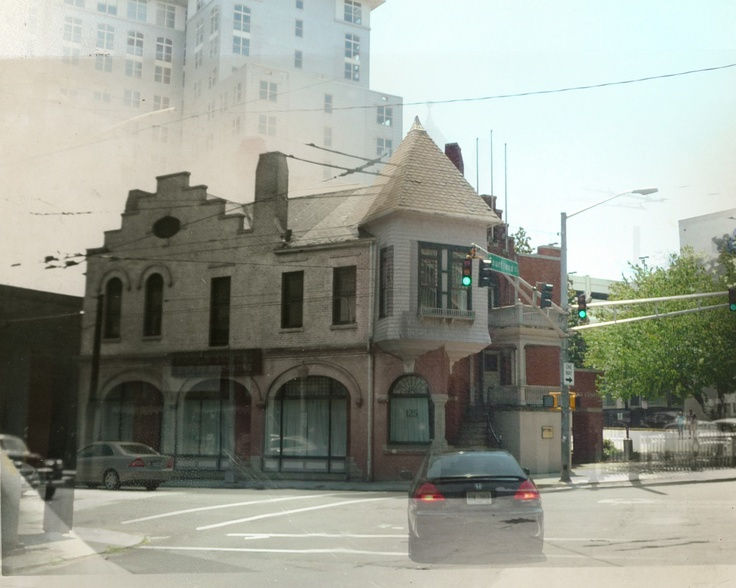 ghost image shows Atlanta Coca-Cola plant 'then and now'.---I like these ghost images