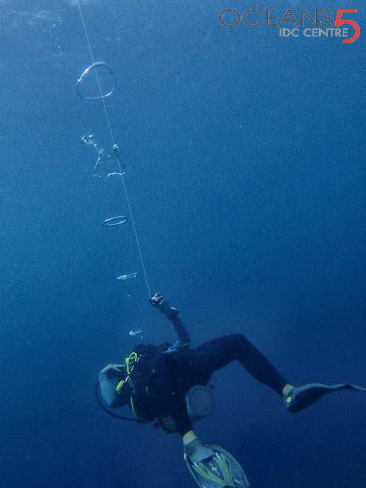 Making bubble rings underwater