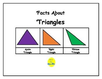 These bulletin board pages contain 21 facts about triangles, including the definition of triangles, classifying triangles, similar and congruent triangles including facts about SSS, ASA, SAS congruence, Pythagorean Theory and Pythagorean Triples, as well as area and perimeter formulas.