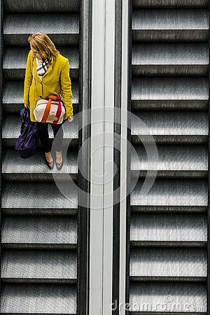 Escalator in the schopping galery Plaza in Krakow. Poland.