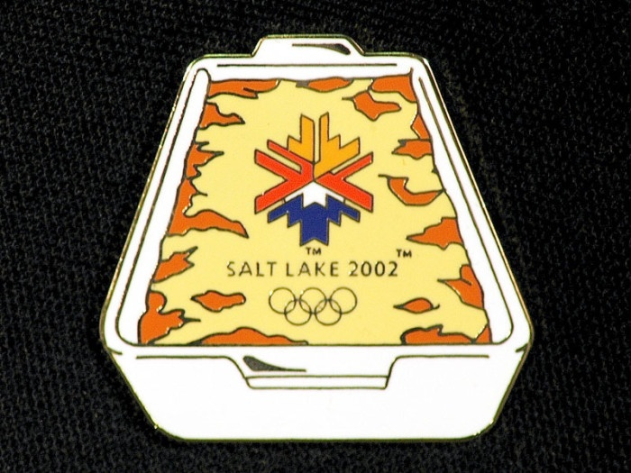 Potato Casserole Salt Lake 2002 Olympic Winter Games Souvenir Pin. Seriously, you'd think it was the food olympics.