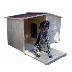 Casa per cane in legno con veranda