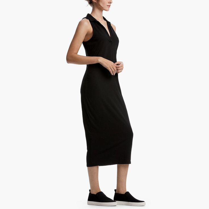 BRUSHED COTTON POLO DRESS