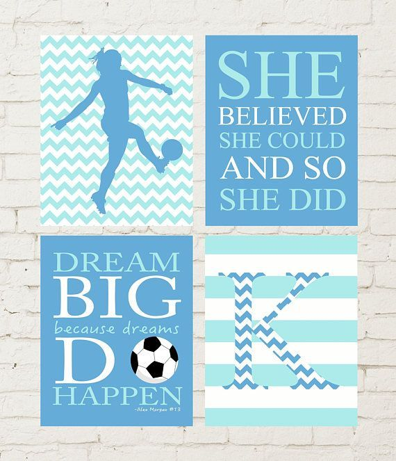 Gift for a soccer girl, soccer girl wall art, soccer inspirational quotes, girls soccer art, soccer room decor, pre teen room decor