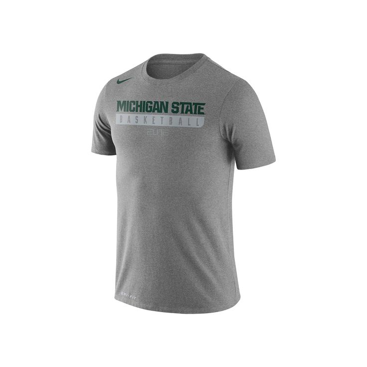 Men's Nike Michigan State Spartans Basketball Practice Dri-FIT Tee, Size: Medium, Dark Grey