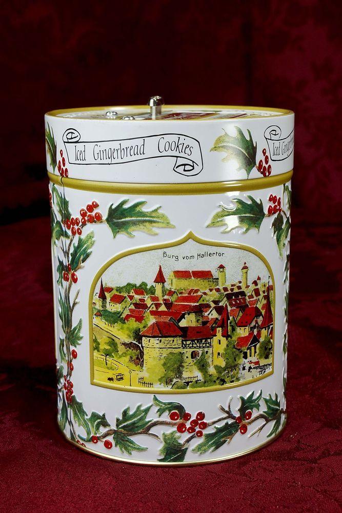 Christmas Musical Gingerbread Cookie Tin Silent Night Lambertz Aachen 1999