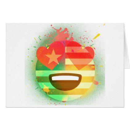 Love Smile America flag Emoji Spray Paint Art Card - love cards couple card ideas diy cyo