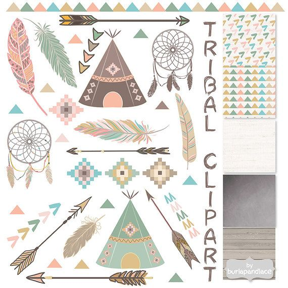 Tribal clipart and patterns, feathers, Teepee Tents, arrows clipart, Navaho clipart, Native, chalkboard clipart, wood, indian clipart