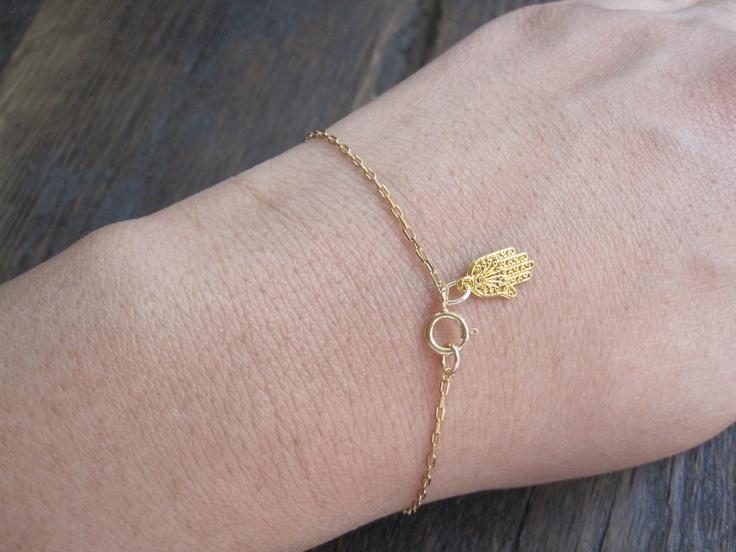 Super cute little gold Hamsa Bracelet by charlieandmarcelle on Etsy: Gold Hamsa, Dainty Hamsa, Hamsa Bracelets