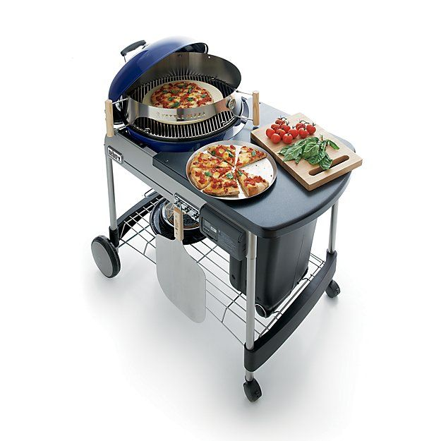 Weber ® Blue Performer Deluxe Charcoal Grill   Crate and Barrel